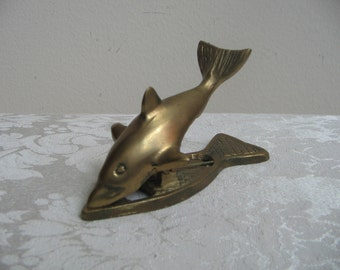 Vintage Brass Fish Dolphin Shark Paper Clip Paperweight, Nautical Coastal Beach Desk Office Decor