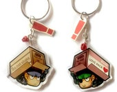 Clear acrylic double sided Metal gear Solid snake Chibi Charm keychain