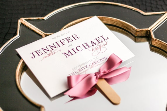 "Blush Pink Ceremony Programs, Rose Fan Programs, Classic Destination Wedding, Bat Mitzvah Party - ""Classic Elegance"" Fan Program - DEPOSIT"