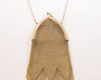 EDWARDIAN Antique Purse gold mesh metal Chain mail Metal Golden Museum Quality Purse Authentic Vintage Accessory Antique Bag talkingfashion