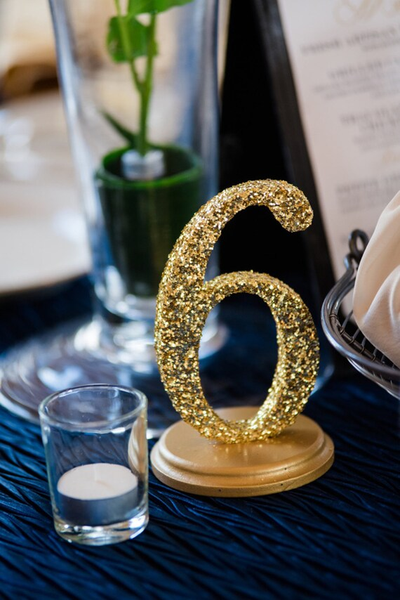 Glitter table numbers for wedding decor table number signs for Glitter numbers for centerpieces
