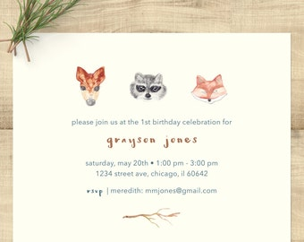 Woodland Animals Watercolor First Birthday invitations, deer, raccoon, fox; set of 10 w/ envelopes and rtn address printing