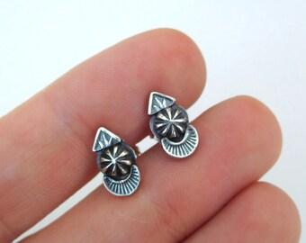 Silver studs   sterling post earrings   small silver earrings   sterling silver metalwork   second hole earrings