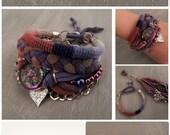 Multi Layered Bracelet Gypsy Hippie Style, Bohemian Bracelet Cognac and Plums, Boho Bracelets Stack Heart Charm, Nomad Jewelry