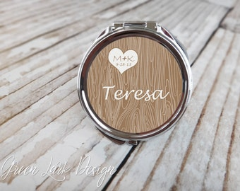Personalized Bridesmaid Gift Compact Mirror - Wood Grain Heart