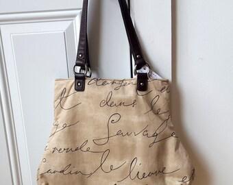 Waverly French Script Fabric Handbag Penpal Brown Ecru Beige Tan