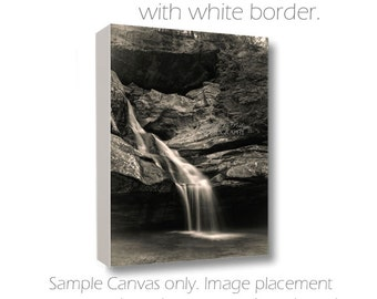 Waterfall Photography-Hocking Hills-Gorge Photography-Black & White Art-Ohio-Canvas Art-Nature Art-Canvas Wrap-Cedar Falls-Cliff Photography
