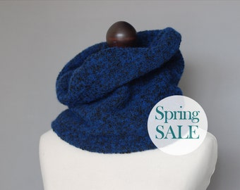SALE 20% OFF Jersey snood in deep blue. Jersey neck warmer. Womens jersey scarf. Deep blue collar.