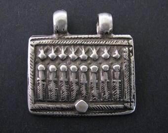 Antique Indian Amulet, Ethnic Tribal, Seven Mothers (Sapta Matrikas) Pendant, High Grade Silver,  Rajasthan, India, 14.5 Grams (0.51oz.)