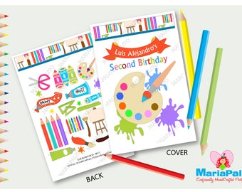 Art Party Coloring Books, 6 coloring books, Rainbow Art and Craft Party,Personalized Coloring Books, handmade  Party Favors, A1251