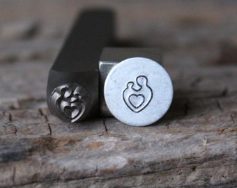 Mother and Child Metal Stamp-7mm Size-Steel Stamp-New Metal Design Stamps-by Metal Supply Chick-DCH62