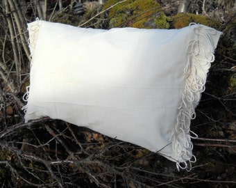 """IVORY Elegance - Cotton Pillow COVER - 40 x 65cm (16"""" x 26"""") - Plain look with a little Something"""