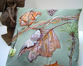 The Elegance of Leaves - 11x11 Pillow Accent Original Art Hand Painted - Dried Leaves Pine Fruit Cottage Charm  Sage Green