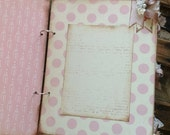Vintage Shabby Baby Theme Pink and Cream Handmade Baby Girl Book, One of a Kind Baby Album  - Rustic Baby Girl - Cottage Chic Baby - Ready t