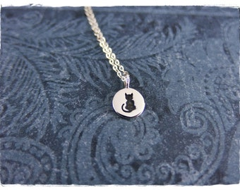 Tiny Silver Black Cat Necklace - Sterling Silver Black Cat Charm on a Delicate Sterling Silver Cable Chain or Charm Only