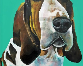 Print of a Basset Hound. Print from Acrylic Painting