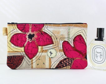 Art textile Upcycled Bag Clutch Boho Chic Eclectic Style Eco Friendly Zero Waste Recycle Large Patchwork bag by SaidoniaEco