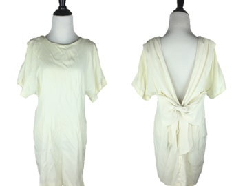 80s White Dress / 1980s Wedding Dress / Vintage Dress with Bow / Ivory Minidress / Off-White Bow Mini Dress / Low Back Dress / Habits M L