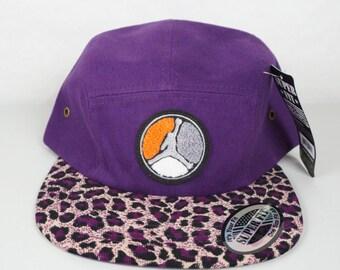 Air Jordan 5 Panel Camper Hat with Jordan Patch Purple with Leopard Print Brim Strap Back