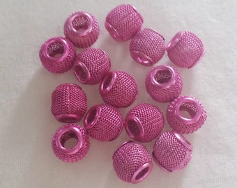 5 Pink Mesh Large 5 mm Hole  Beads fit European Jewelry -