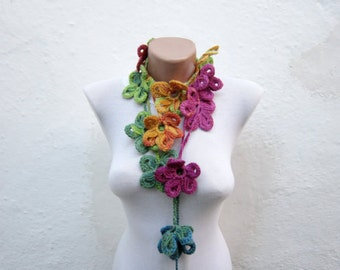 Crochet Lariat Scarf, Flower Long Necklace, Rainbow Floral Jewellery, Crocheted Skinny Accessories, Christmas Gift, Green Pink Blue Yellow