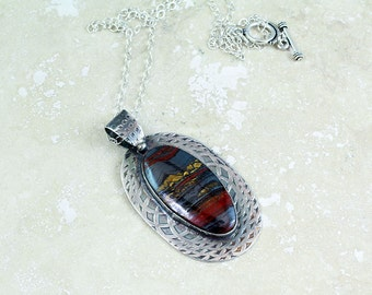 Red Blue Gold Tiger Iron Stone Necklace in Sterling Silver