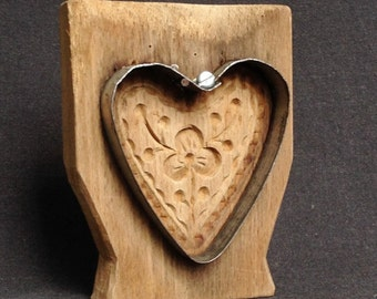 I love it ! Antique heart shaped cookie cutter mold. Shabby chic retro kitchen decor and folk art cooking supply.