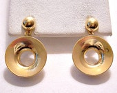 Disc Ring Hoop Pierced Post Stud Earrings Gold Tone Vintage Large Open Layered Dangles Round Domed Top Button
