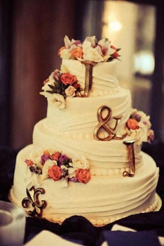 3 PERSONALIZED MONOGRAM LETTERS + Fleur De Lis Gold Cake Topper ...