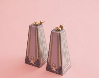 """Geometric Earrings // Pastel Earrings // Marble Earrings // Art Deco Earrings // Op Art Earrings // Art Deco Earrings // The """"Hollywood"""""""