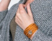 Wrap Crocheted Bracelet and Necklace in one piece. Wrapped bracelet. Mustard bright . Coiled Bracelet. Threaded Bracelet. Textile Jewelry.