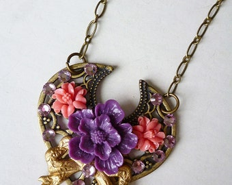 SALE Bohemian Bouquet / Floral Assemblage Necklace with Antiqued Brass Filigree, Sakura Blossom, Coral Flowers, Gold Bow, Amethyst Swarovski