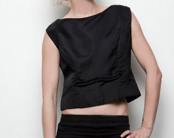 vintage 1950s sleeveless top black fitted crop cropped M L (SU-1)
