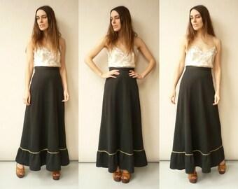 1970's Vintage Black High Waisted Bohemian Maxi Skirt Size XS