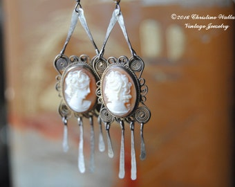 Jane And Cassandra--Antique Sterling Filigree Hand Carved Victorian Shell Cameo Tassel Pearl EARRINGS