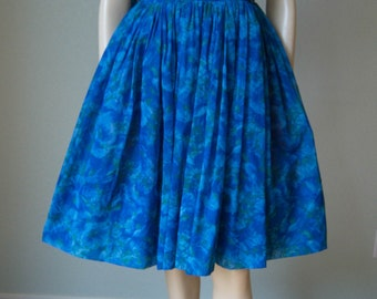 1960s Floral Print Chiffon Party Dress with Shoulder Drape // Ocean Blue // Full Layered Skirt // Barbie Dress