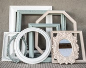 Large Frame Arrangement / Frame Gallery / Hand Painted White, Balsam, Beige / Eight Frames, one Small Mirror