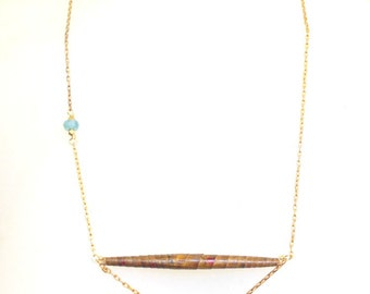 1930's Handmade Rolled Paper Bead Necklace with Aquamarine