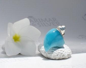 Larimarandsilver pendant, Little Dragon - cobalt blue Larimar claw, Caribbean blue, blue dragon, surf pendant, handcrafted Larimar pendant