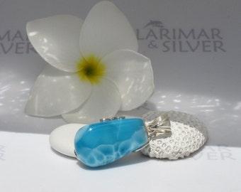 Larimarandsilver pendant, Electric Tide - royal blue Larimar, turtleback, sapphire blue, electric blue, deep blue, handmade Larimar necklace