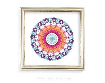 Mandala Art Print - Mandala Wall Art - Kaleidoscope Print - 8x8 - 10x10 - 12x12 - Frame Not Included