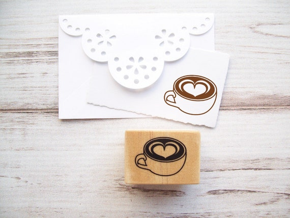 Coffee Cup Stamp with Foam Heart , Latte Mocha Mug Teacup Rubber Stamp