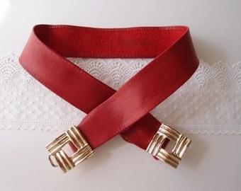 vintage red soft leather Belt gold weave buckle ...fits 22-31