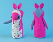 Rosette Radish-Pickle - Art Doll - OOAK handmade hand sewn soft sculpture - fox woodland animal creature bright pink blue floral soft sweet