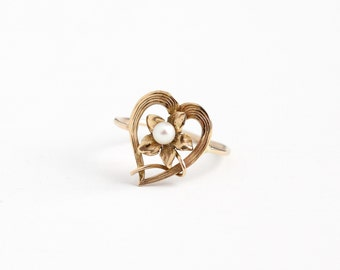 Sale - Antique Art Nouveau 10k Rose Gold Flower Heart Ring- Vintage 1900s Victorian Edwardian Stick Pin Conversion Fine Floral Pearl Jewelry