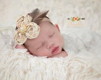 READY TO SHIP, Vintage Floral Headband, Rolled Flower Headband, Newborn, Sitter, First Birthday, Smash Cake, Toddler, Infant, Photo Prop