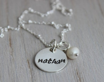 custom name tag mothers necklace | push present | new mom gift | 1 kids names | one kid | personalized name disc | mommy necklace