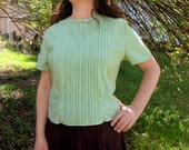 1930s blouse Sheer sea foam green nylon S/M