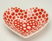 Small Heart Shaped Red and White Bowl Dinnerware