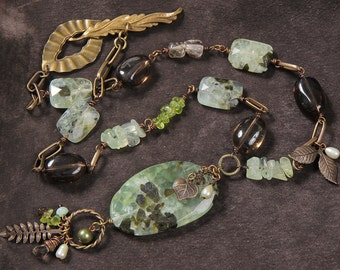 Forest Floor necklace: prehnite, smoky quartz, pearl, peridot, Vintaj leaf charms